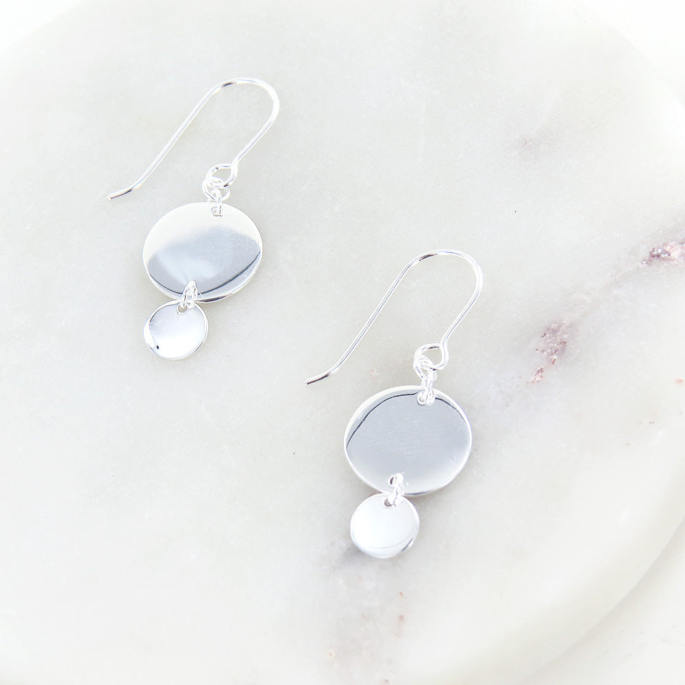 STERLING SILVER FLAT DISC EARRING