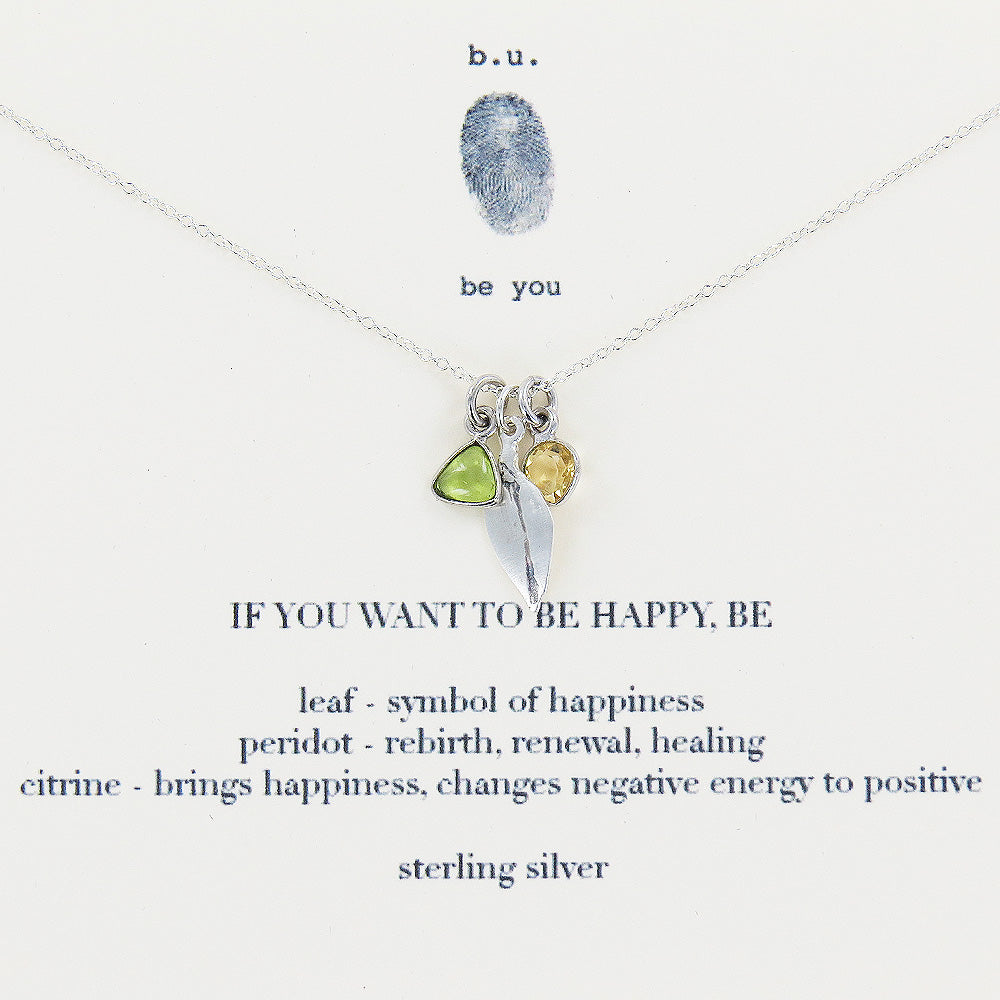 Meaningful Sterling Silver and Peridot charm, If you want to be happy, be