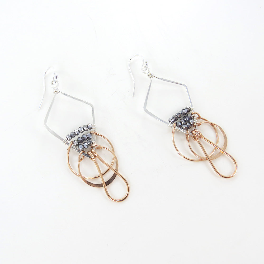 PYRITE IN DIAMOND SHAPE EARRINGS