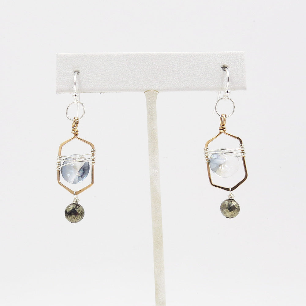 CRYSTAL COIN AND PYRITE EARRING