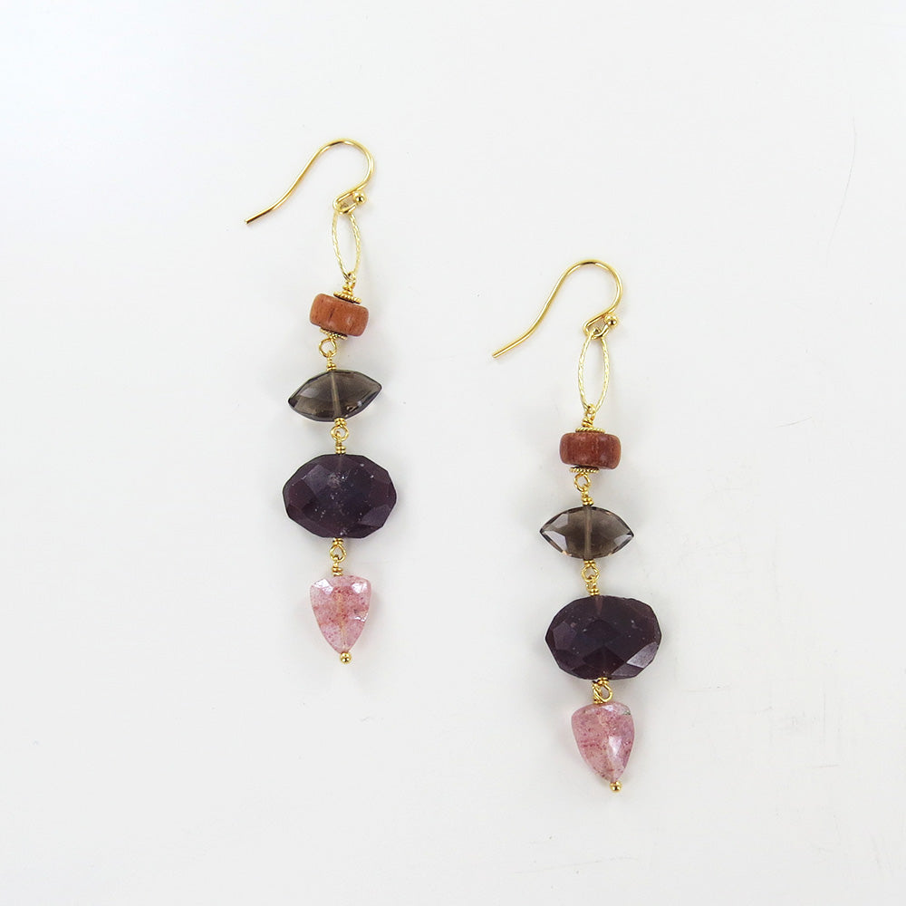 GARNET MIX STONE TIERED EARRINGS