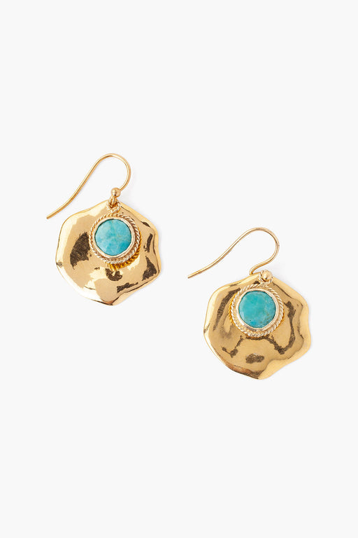 Organic Shape Gold Plated & Turquoise Earring