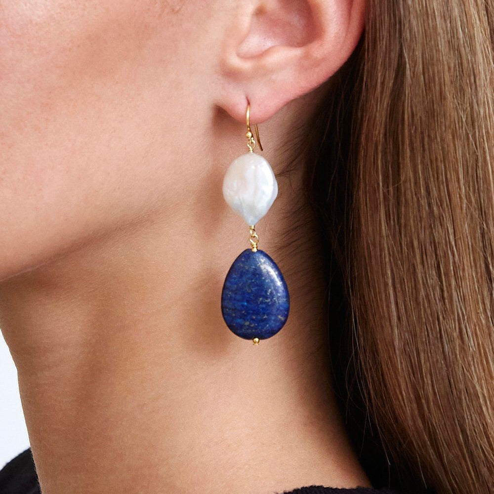 Lapis And White Pearl Drop Earrings