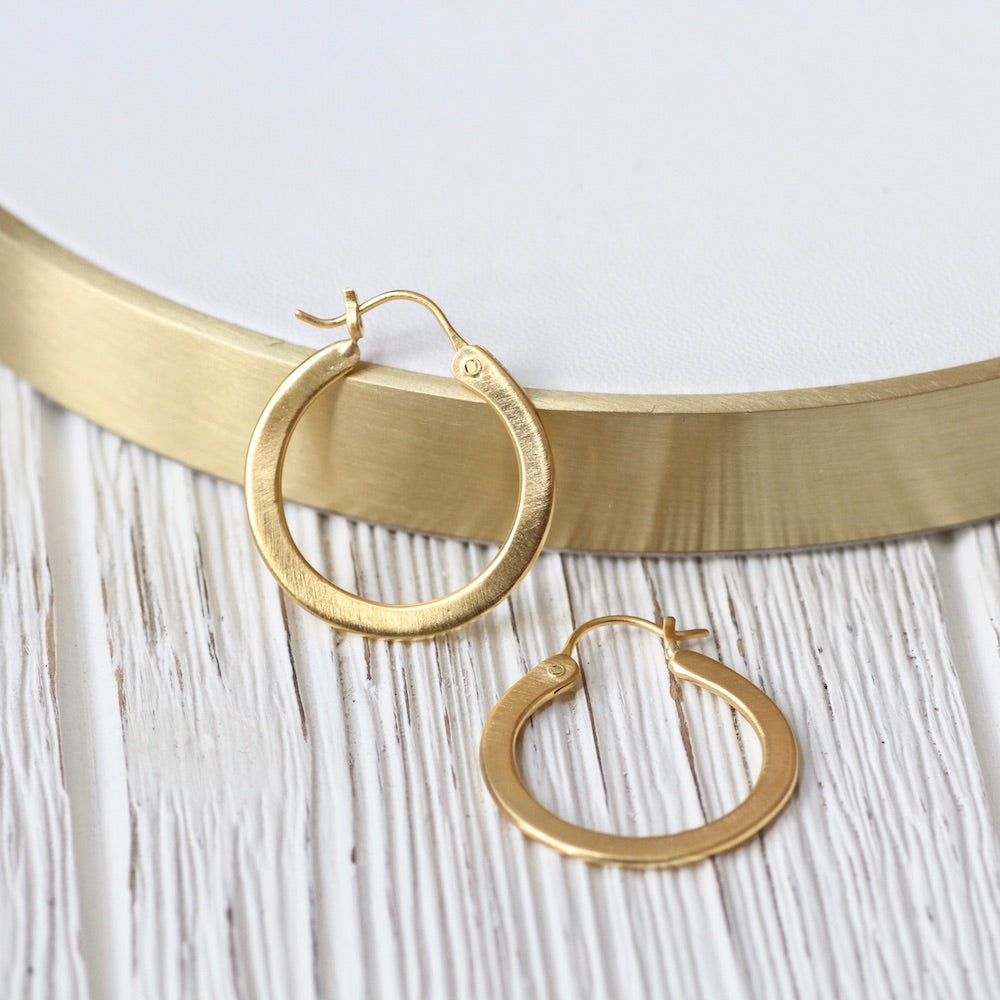 Gold Plated Small Flat Hoop