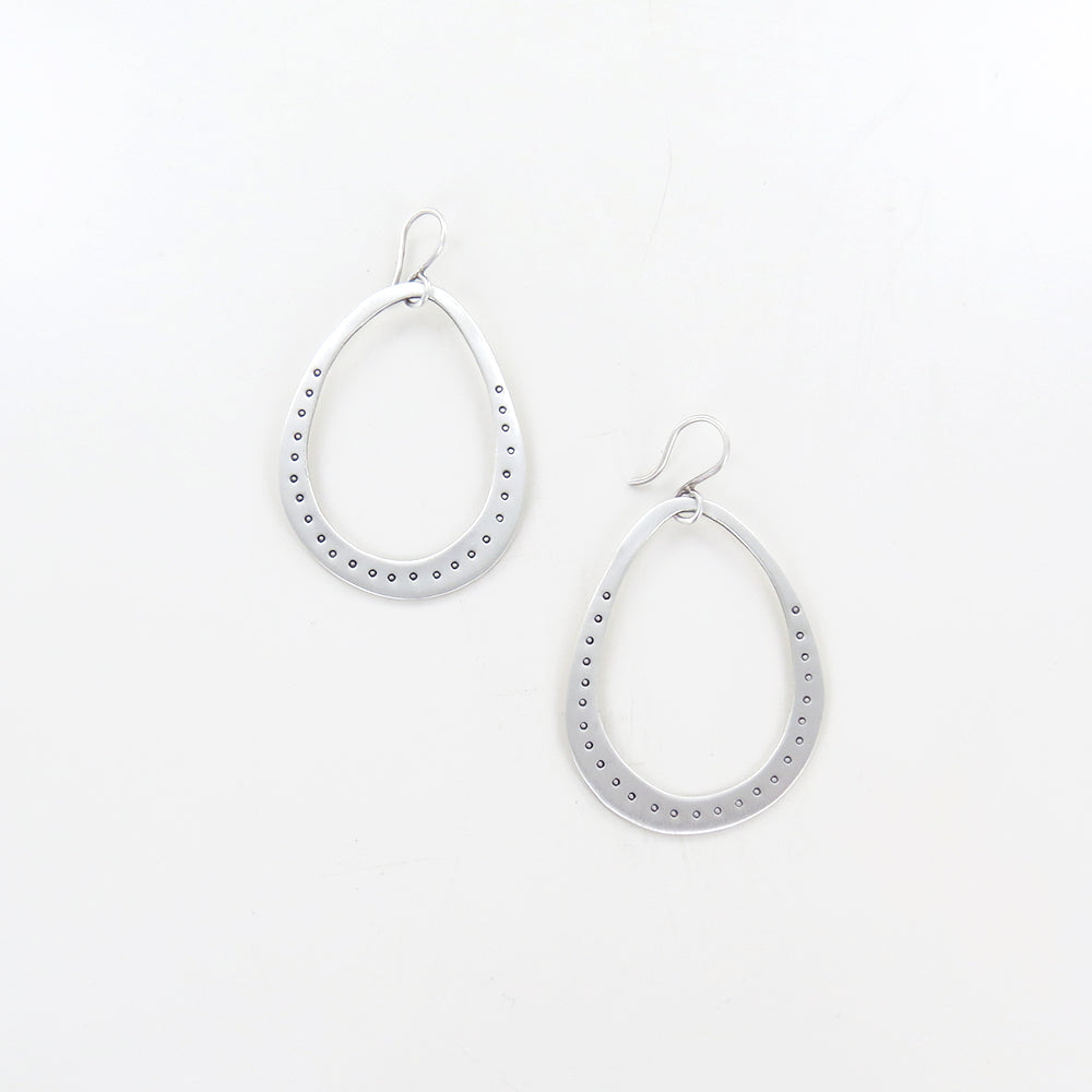 LARGE ORGANIC OVAL WITH ETCHED CIRCLES EARRINGS