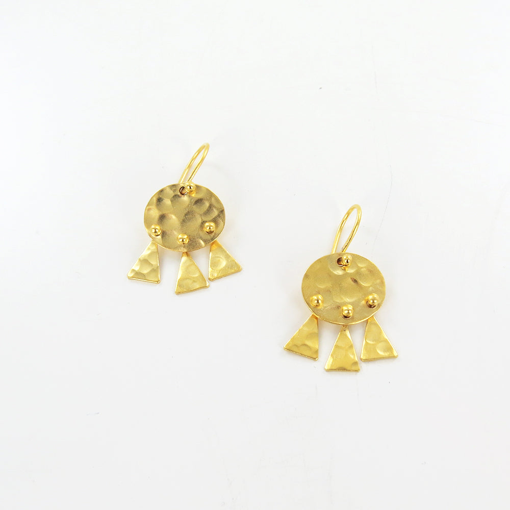 GOLD HAMMERED DISC AND TRIANGLE DROPS EARRINGS