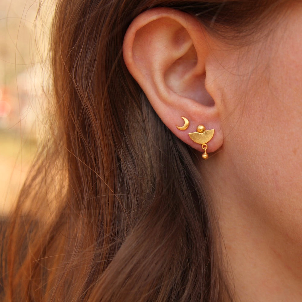 Tiny Lunar Studs with Ball Drop - Gold Plate