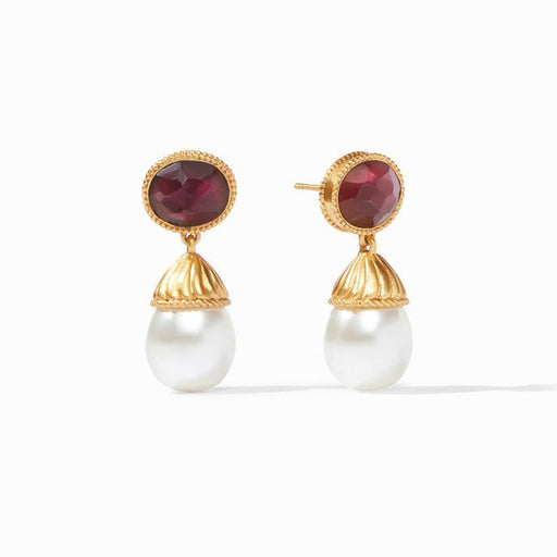 OLYMPIA PEARL IRIDESCENT BORDEAUX EARRING