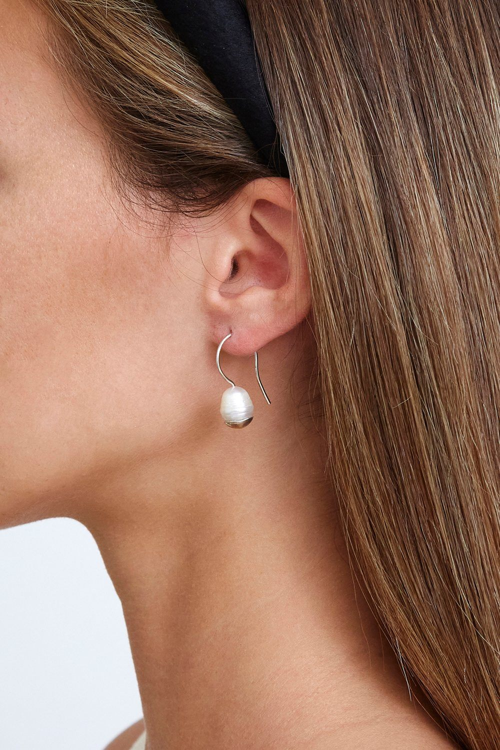 Silver-Dipped Pearl Drop Earrings