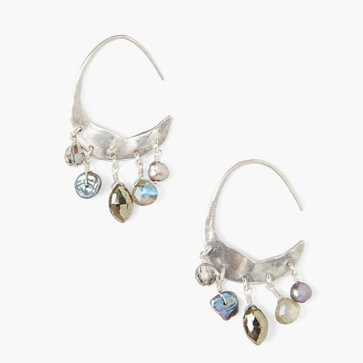 Petite Crescent Grey Pearl & Labradorite Mix Silver Hoop Earrings