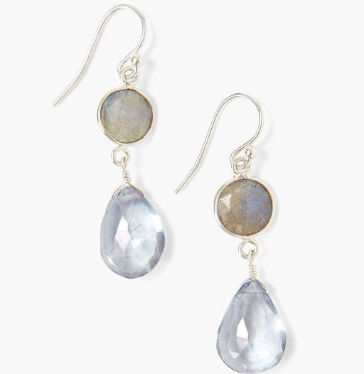 Blue Crystal & Labradorite Teardrop Earrings
