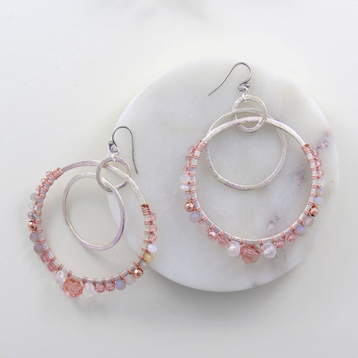 PINK MIX HOOPY EARRINGS