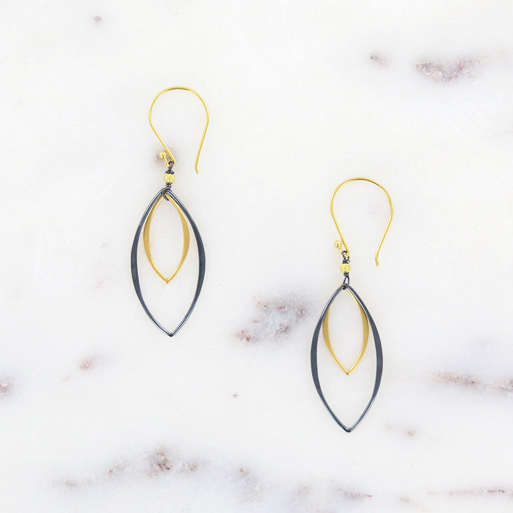 OXIDIZED SILVER AND GOLD MARQUIS EARRING