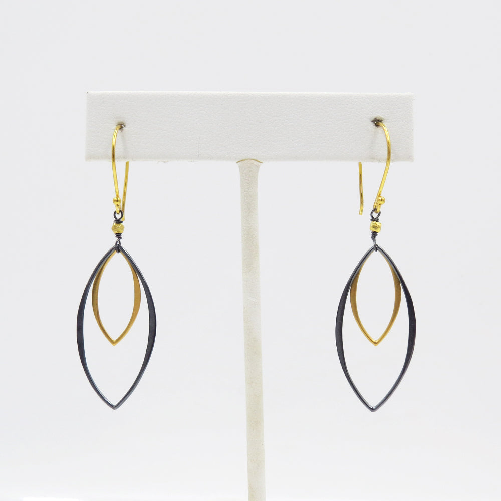 Oxidized Silver and Gold Marquise Earring