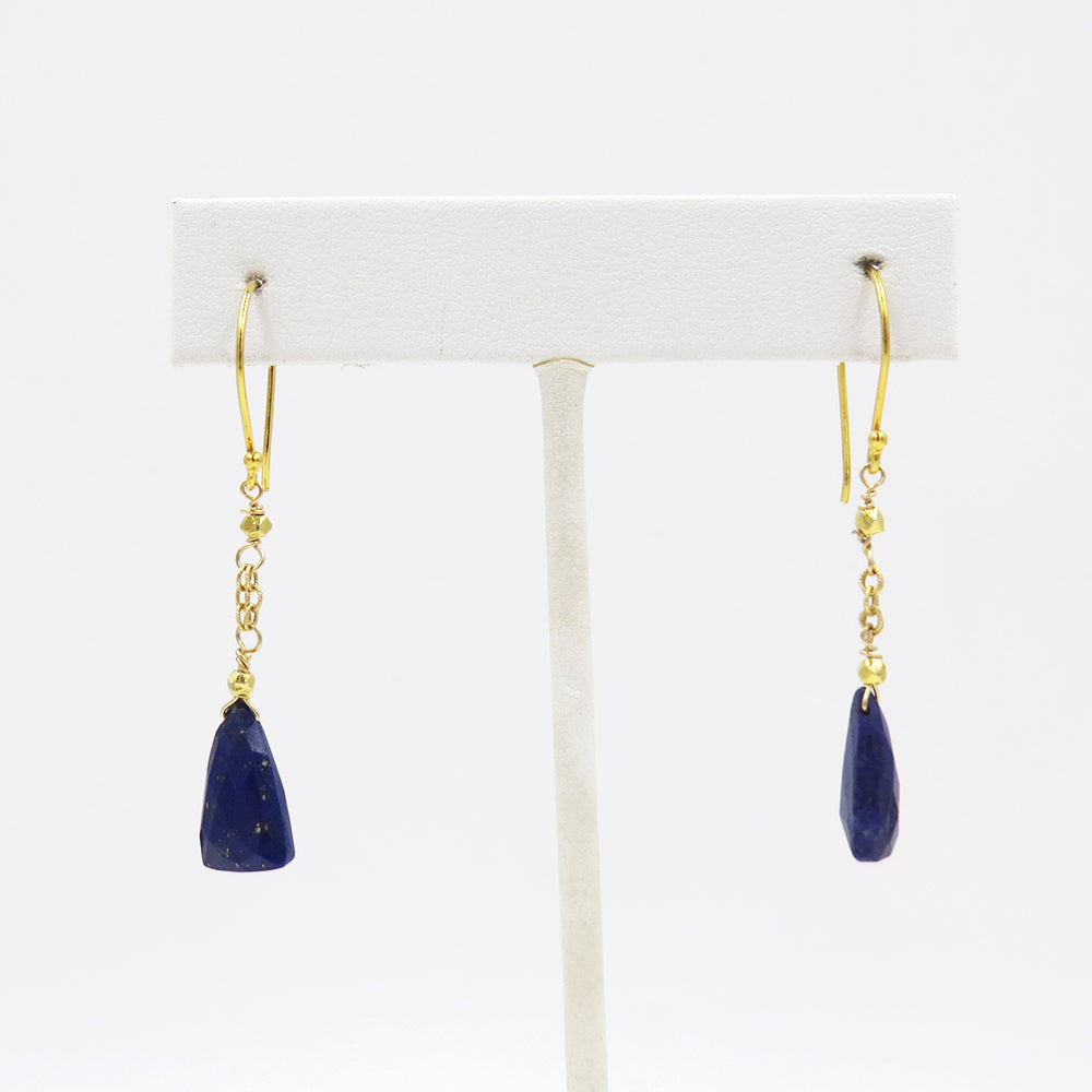 CHAIN AND TRIANGLE LAPIS EARRING