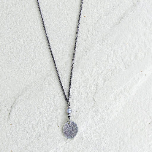 HANDMADE OVAL DISC WITH GREY PEARL NECKLACE