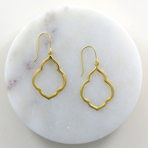 POLISHED GOLD PERSIAN WINDOW EARRING