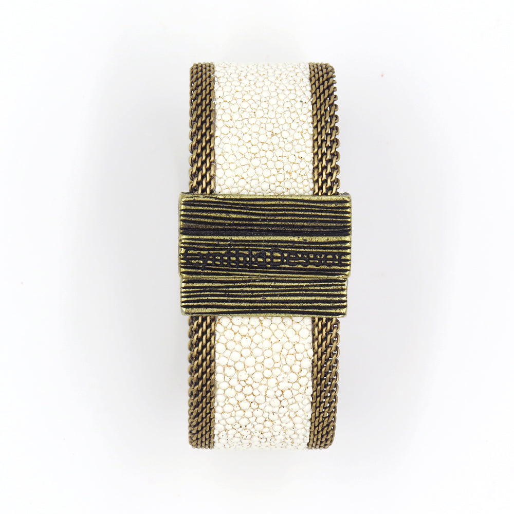 BONE AND GOLD SHIMMER NARROW CUFF