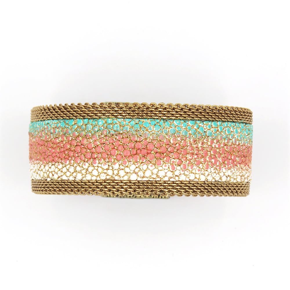 TURQUOISE BONE CORAL OMBRE NARROW CUFF