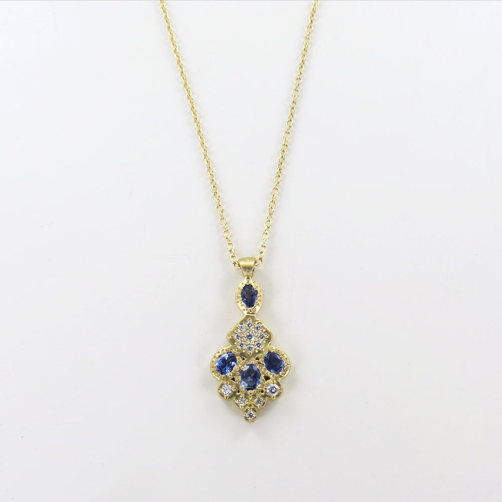 MOSAIC TILE NECKLACE IN SAPPHIRE