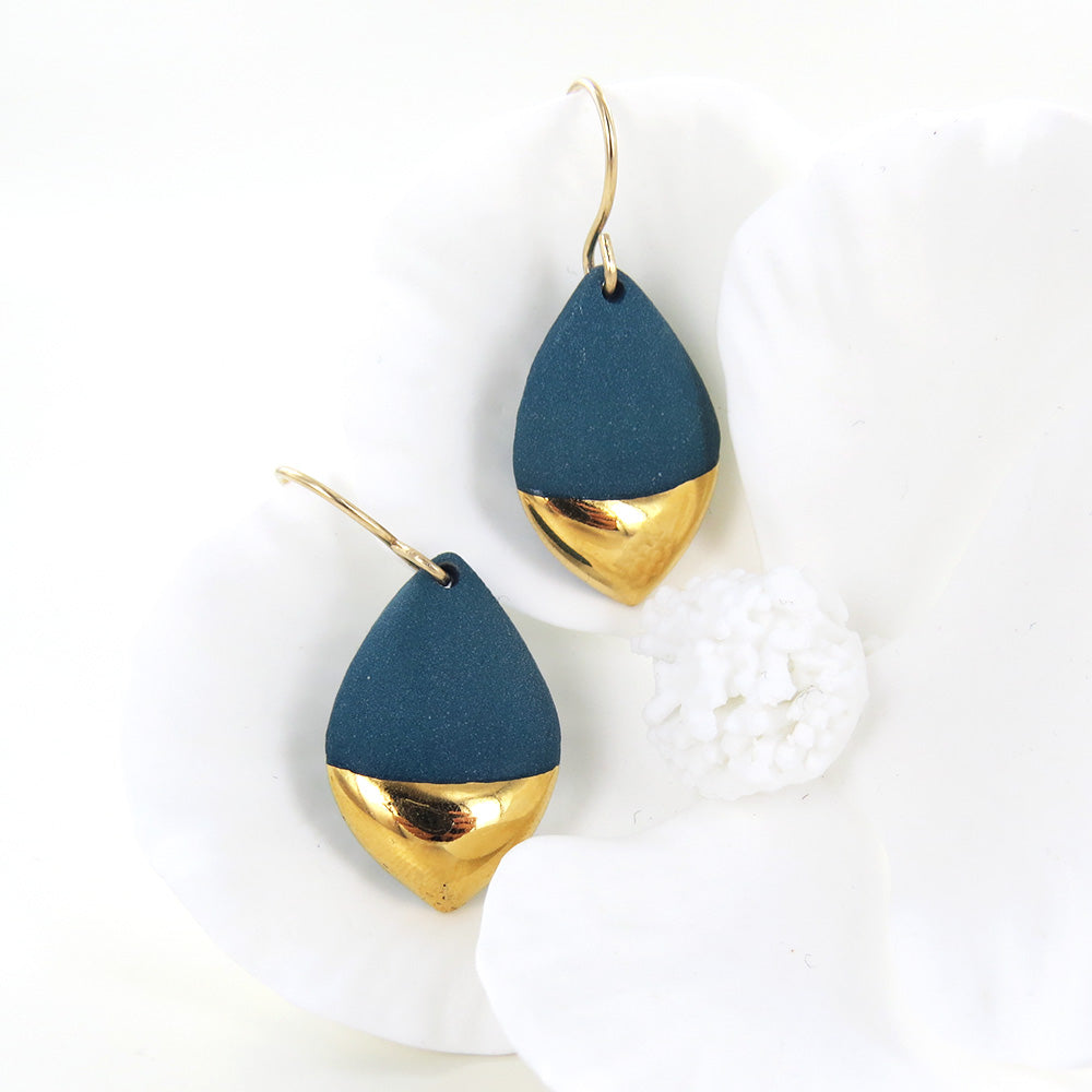 TEAL GOLD DIPPED MARQUISE EARRINGS