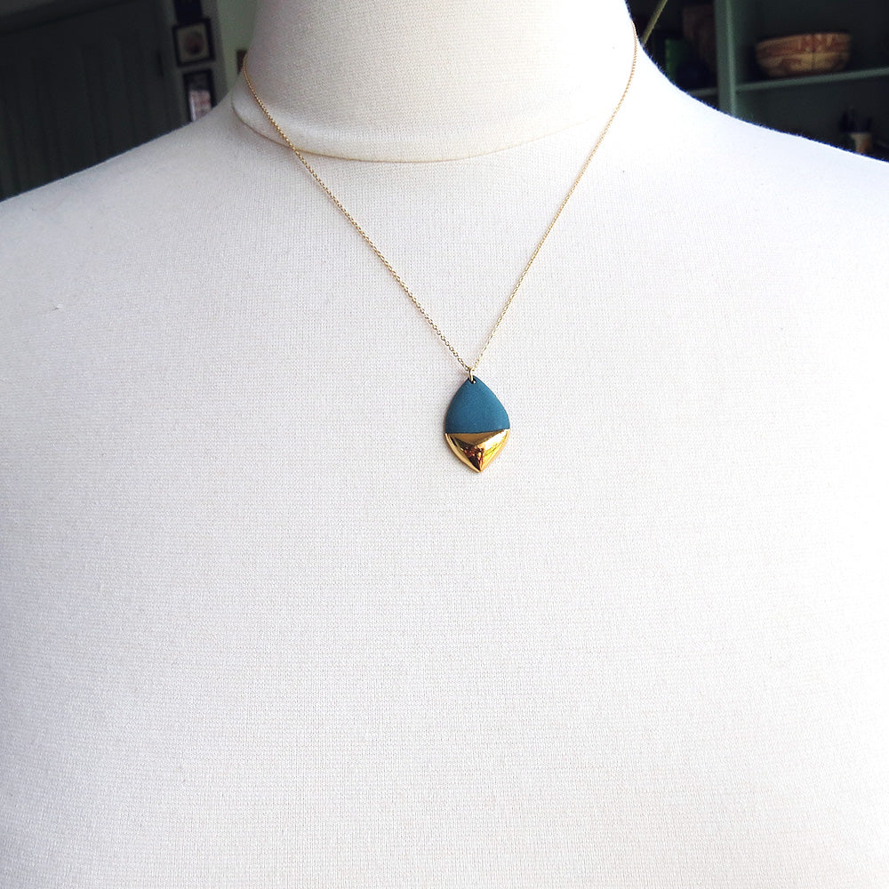 TEAL GOLD DIPPED MARQUISE NECKLACE