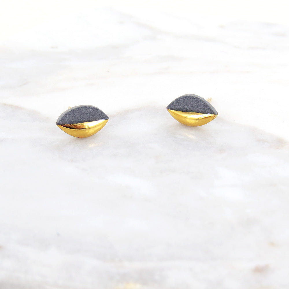 GREY GOLD DIPPED MARQUISE STUDS