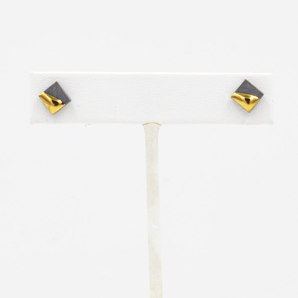 GREY GOLD DIPPED SQUARE STUDS
