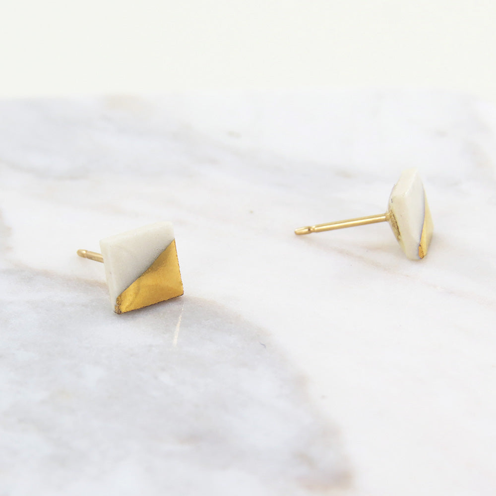 WHITE GOLD DIPPED SQUARE STUDS