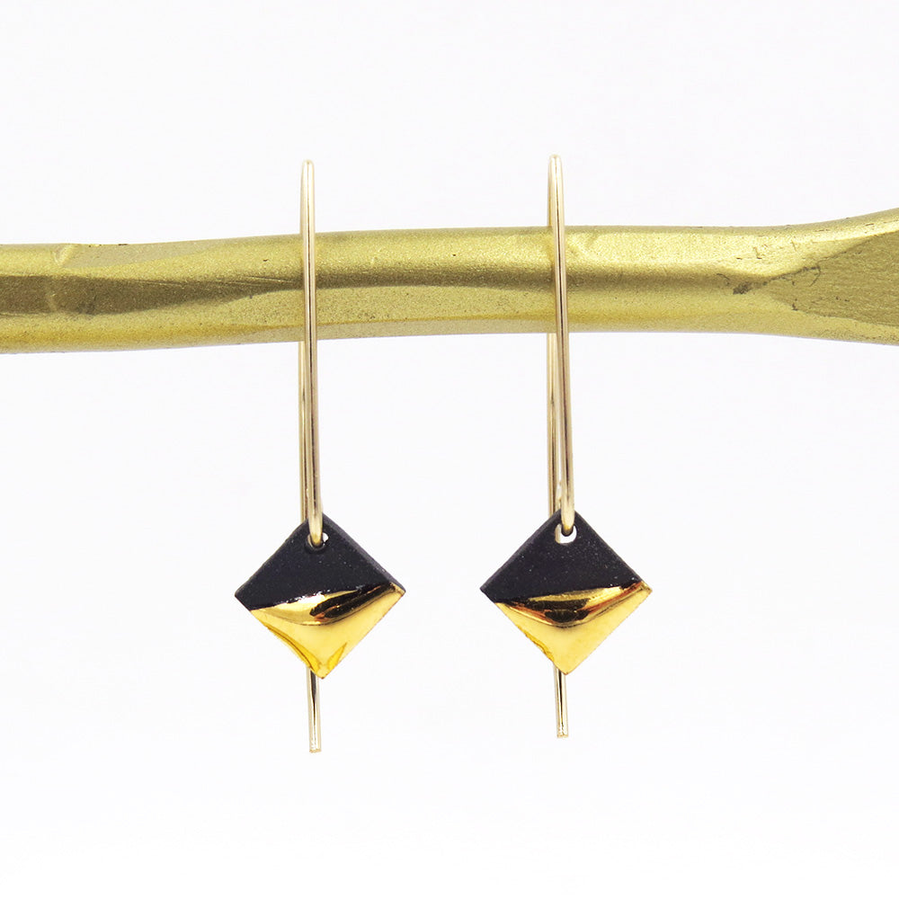 BLACK GOLD DIPPED SQUARE EARRINGS