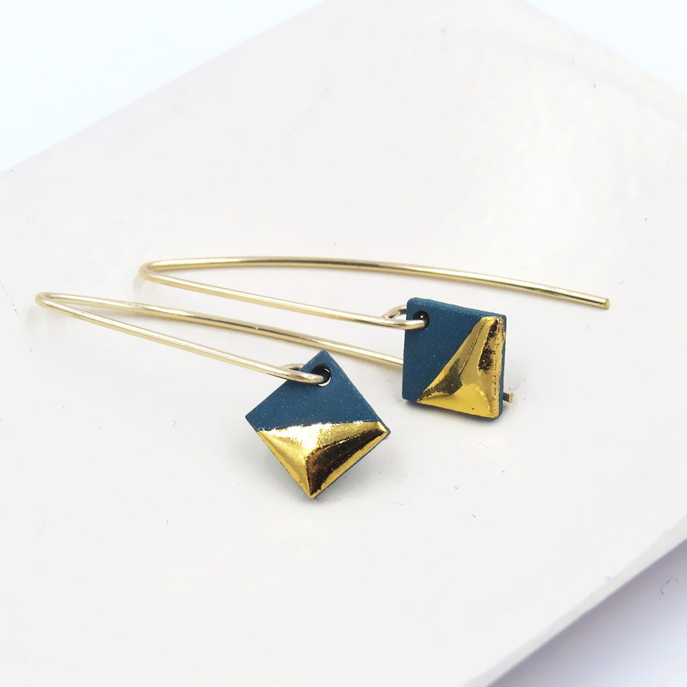 TEAL GOLD DIPPED SQUARE EARRINGS