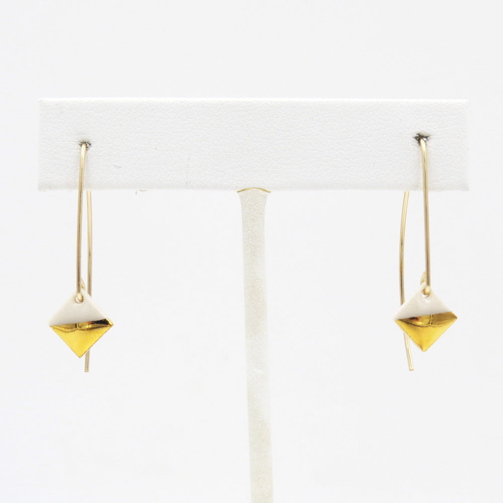 WHITE GOLD DIPPED SQUARE EARRINGS