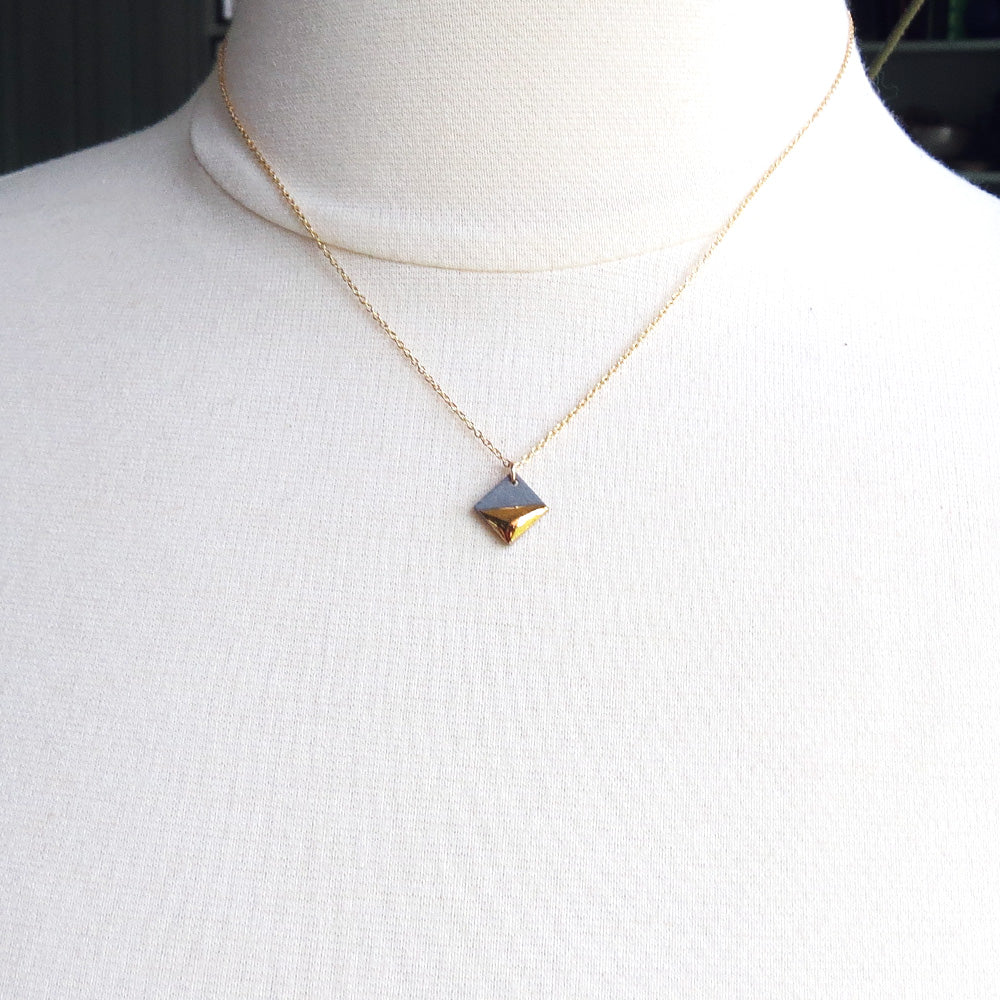 GREY GOLD DIPPED SQUARE NECKLACE