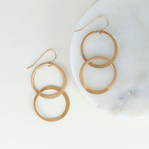 HAMMERED INTERLOCKING CIRLCES EARRING