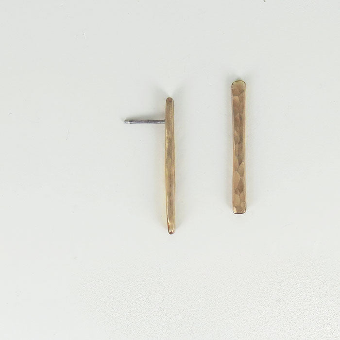 HANDMADE HAMEMERED BAR POST EARRING
