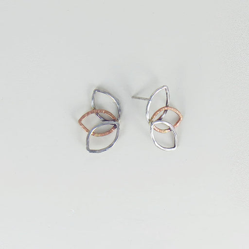 MIXED METALS OPEN LEAF FAN POST EARRING