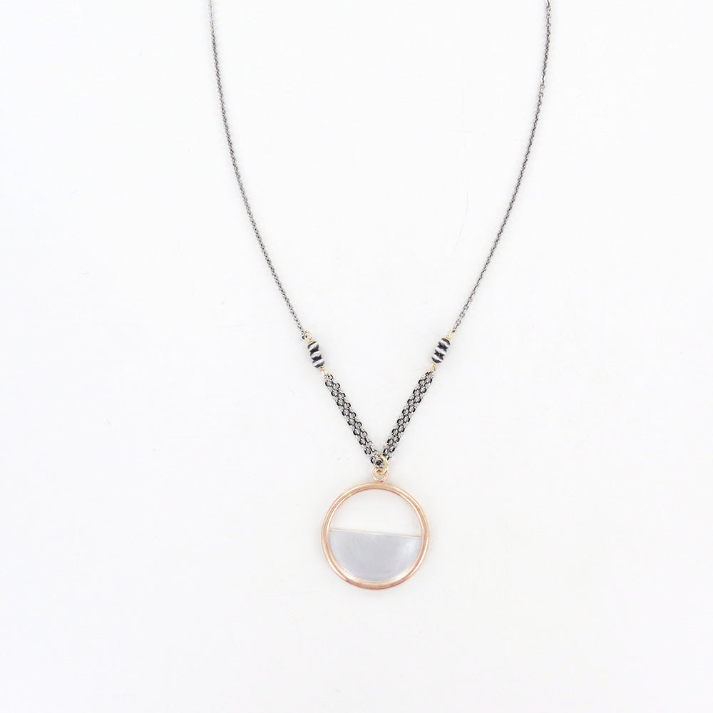SILVER HALF GOLD CIRCLE NECKLACE