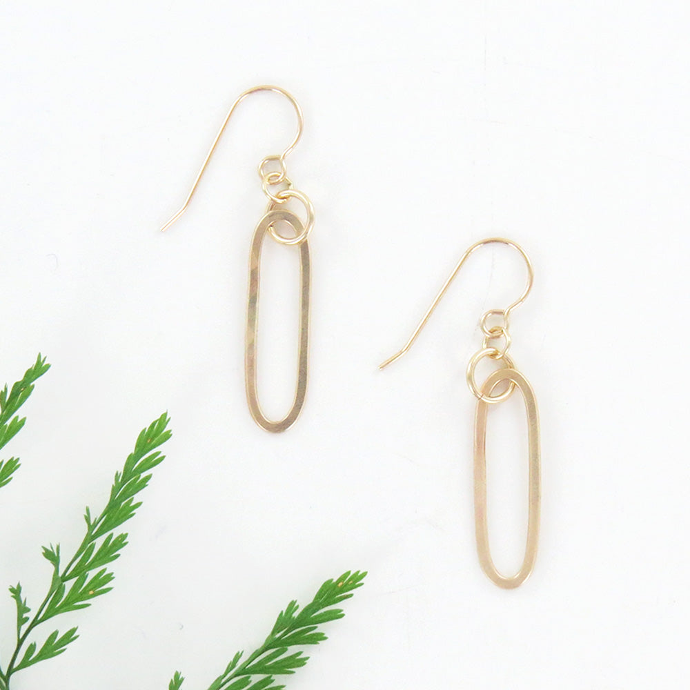 GOLD OVAL DROP EARRINGS
