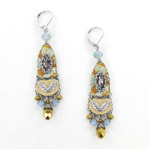 SGT. PEPPER EARRING AYALA BAR YELLOW AND GRAY LATCH BACK CLOSED DANGLE EARRINGS