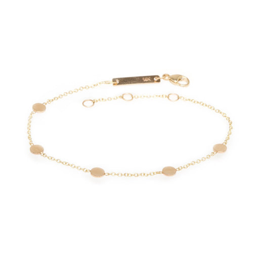 14K GOLD ITTY BITTY 5 ROUND DISC BRACELET