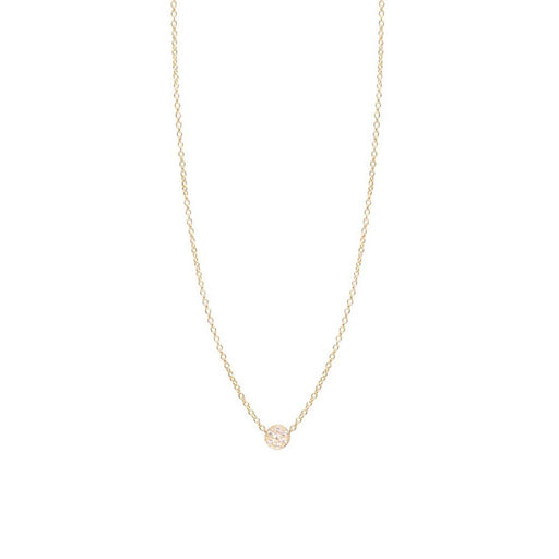 14K GOLD ITTY BITTY PAVE CIRCLE NECKLACE