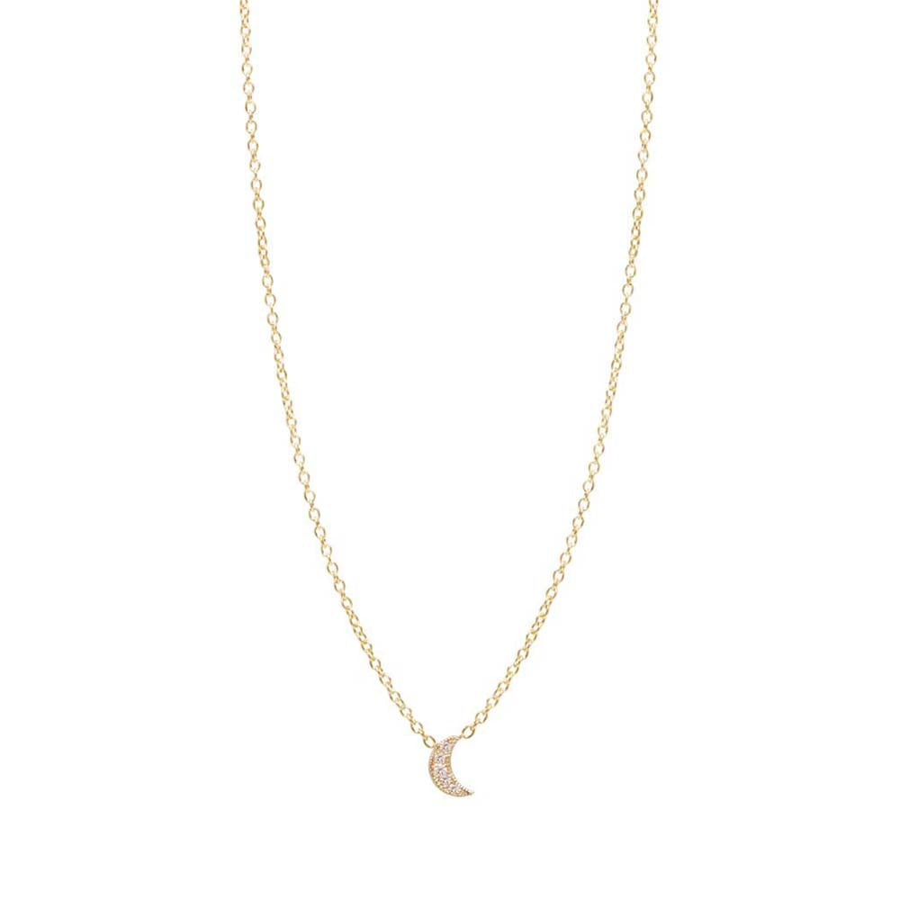 14K GOLD ITTY BITTY PAVE MOON NECKLACE