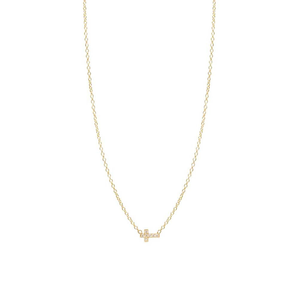 14K GOLD ITTY BITTY PAVE DIAMOND CROSS NECKLACE