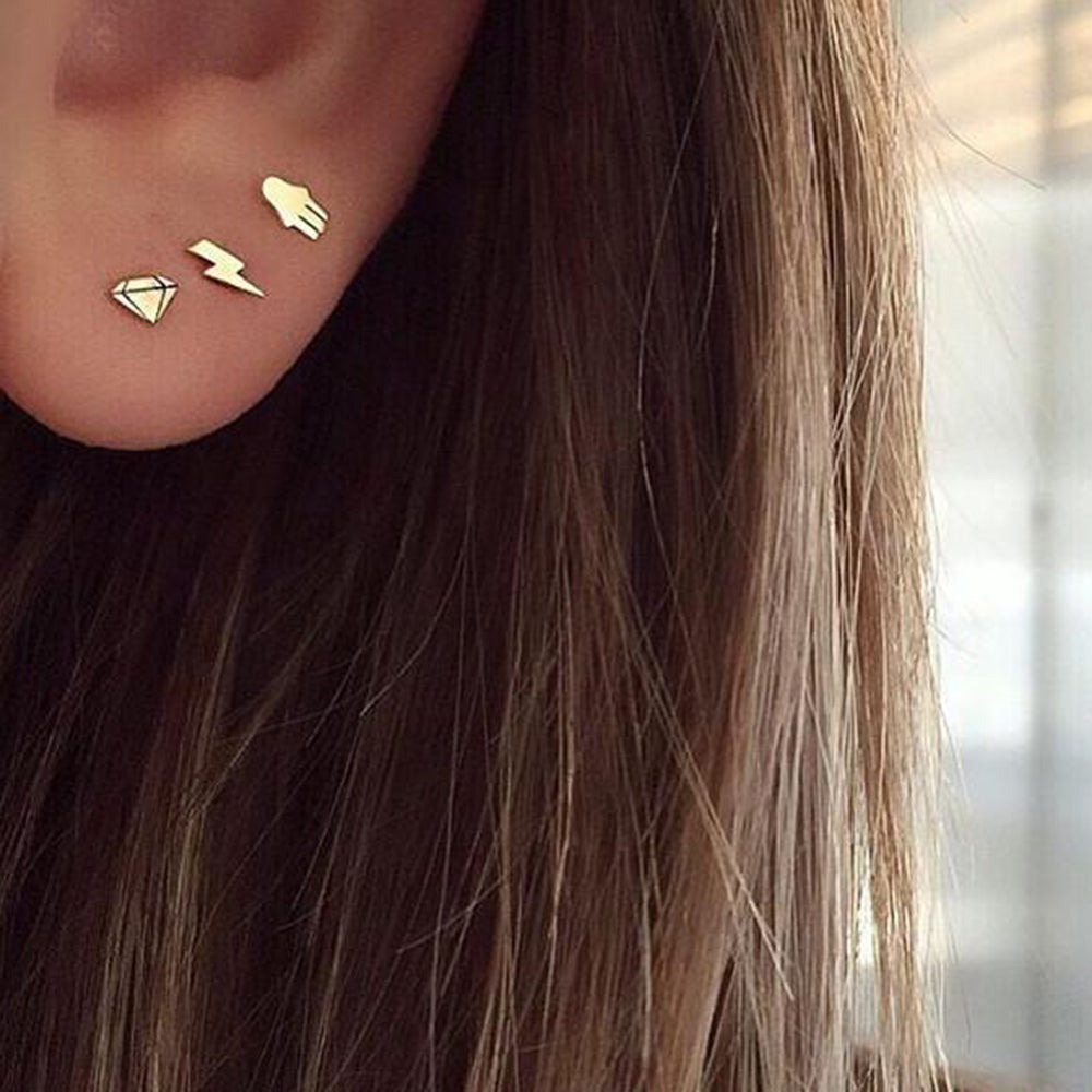 14K GOLD ITTY BITTY LIGHTNING BOLT SINGLE STUD EAR