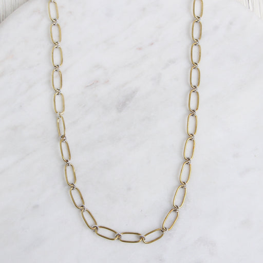 Winding Way Paper Clip Chain - Brass & Sterling Silver - 24""