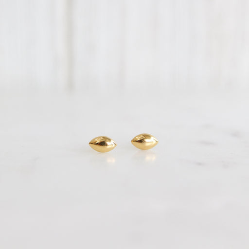 Gold Vermeil Little Puffed Seed Shaped Stud