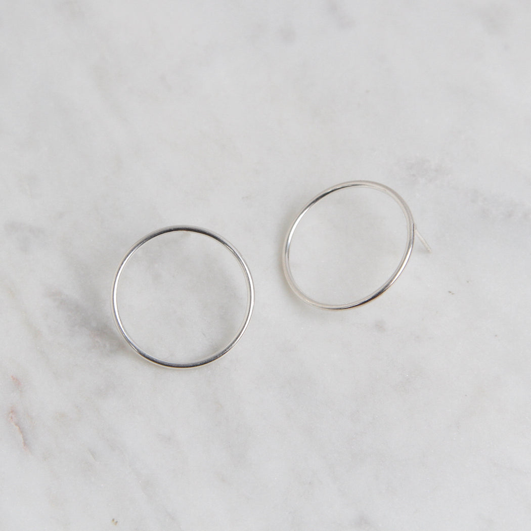 Sterling Silver Large Wire Circle Stud