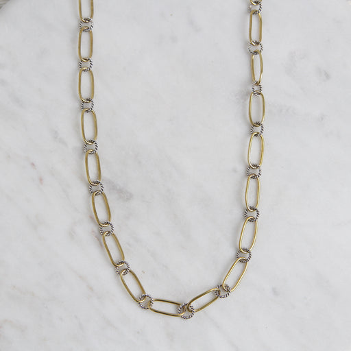 Winding Way Paper Clip Chain - Brass & Sterling Silver - 30""