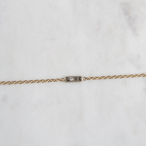 14k Gold Love / You Bar Bracelet with Diamond