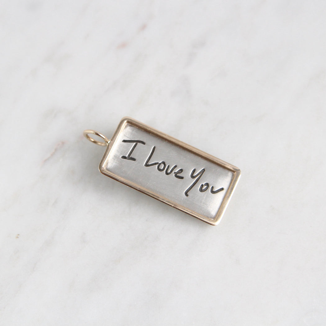 "Silver ""I Love You"" ID Tag with 14k Gold Frame"
